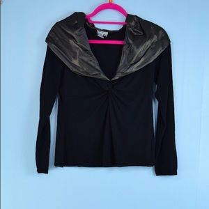 W By WORTH Metallic pewter Black Collar top Small